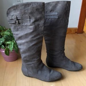 ShoeDazzle suede leather knee high buckle boots.